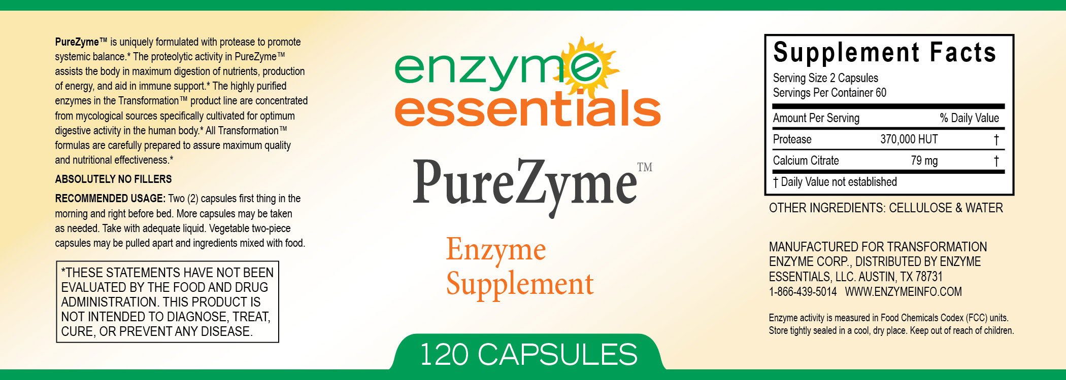 Systemic Enzymes Purezyme Protease Digestive Enzyme